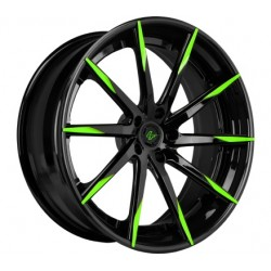 Lexani 22x9.0 CSS15 Gloss Black Green Tips