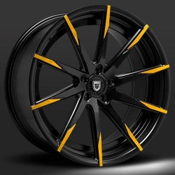 Lexani 22x9.0 CSS15 Gloss Black Yellow Tips