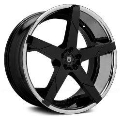 Lexani 24x9.0 Invictus-Z Gloss Black Centre Chrome Lip